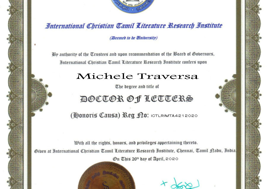 A Michele Traversa Laurea Honoris Causa in Lettere e Filosofia della International Christian Tamil Literature Research Institute in India