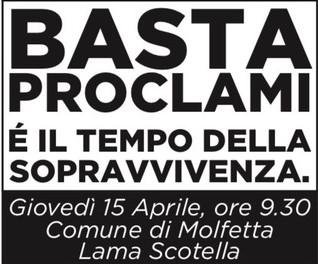 """""""Basta proclami!"""", a Molfettail 15 aprile la mobilitazione delle Partite iva"""