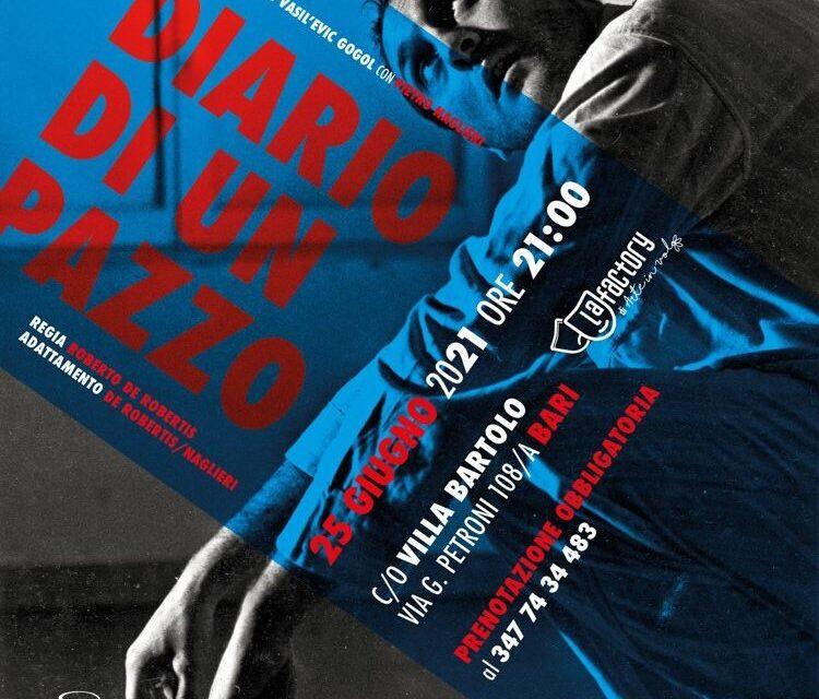 """Il 25 giugno """"Diario di un pazzo"""" di Pietro Naglieri alla Factory di Arte in Volo a Bari"""