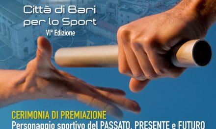 Il 2 ottobre saranno ufficializzati i vincitori del Premio Nikolaos dello Sport città di Bari